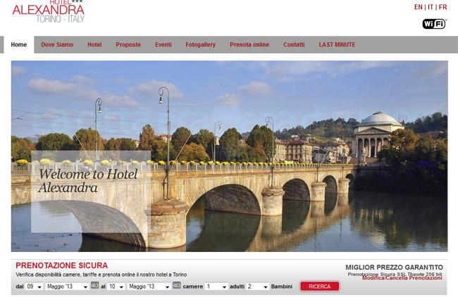 Hotel Alexandra Torino :: Sviluppo sito web, Web content