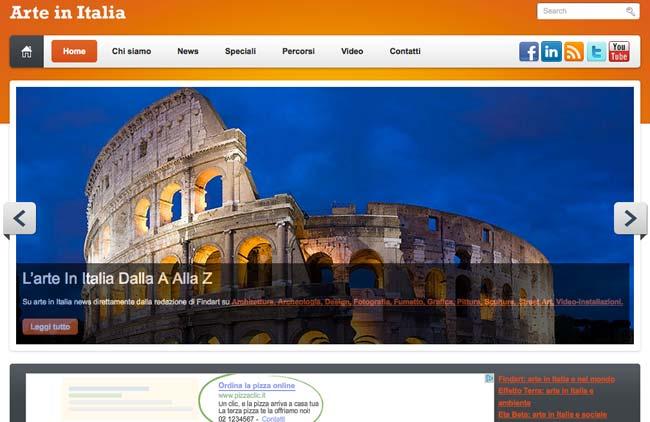 Arte in Italia :: Sviluppo sito web, Web content