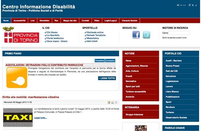Provincia di Torino - Centro Informazione Disabilità :: Sviluppo sito web, Web Marketing, Gestione Newsletter, Web content, Area riservata