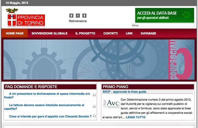 Provincia di Torino - Clausola Sociale :: Sviluppo sito web, Area riservata, Data base online operatori