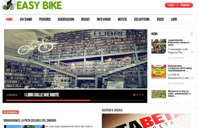 Easybike :: Sviluppo sito web, Gestione Newsletter, Web content, Social media, Area riservata