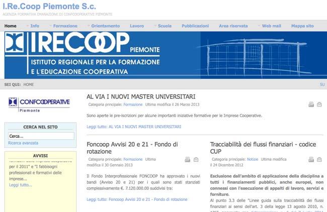 I.RE.COOP. Piemonte :: Sviluppo sito web